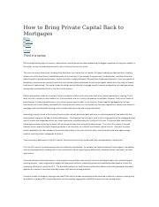 How to Bring Private Capital Back to Mortgages