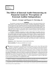 The Effect of Internal Audit Outsourcing on Financial Analysts' Perceptions of External Auditor Inde