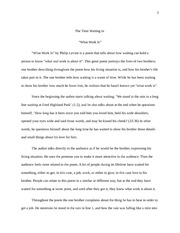 Close Reading -What Work Is-