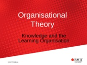 Topic 11 - Semester 2 (2015) Knowledge and the Learning Organisation