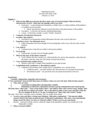 Marketing Research, Exam Two Study Guide