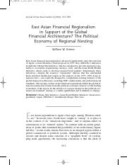 William W Grimes - East Asian Financial Regionalism in Support of the Global Financial Architecture.