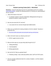 slcassignmentworksheet View notes - slcassignmentworksheet from humn 211 at franklin university all academic support services are free 5 what are three ways you can get writing help through the slc 1 writing.
