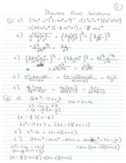 Math College Algebra Practice final solutions