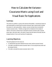 Week 3 Summary How To Calculate The Variance-Covariance Matrix