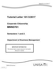101 2016 3 B 2 Trt3701 Tutorial Letter Hospitality Management