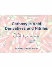 Lecture 11 - Carboxylic Acid Derivatives & Nitriles