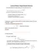 Lecture 8 Notes, Single Sample Inference
