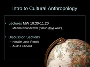 Cultural Anth Aug 25 2014