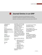 01-01 Journal Entries in an ERP  Spring 2015