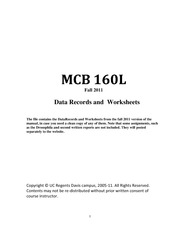MCB160L Datarecord and worksheets
