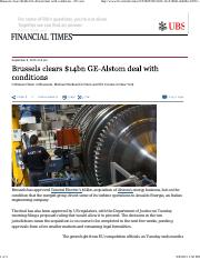 Brussels clears $14bn GE-Alstom deal with conditions - FT