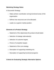 Marketing Strategy Notes