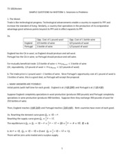 Introduction to Economics Sample Midterm 1 Solutions