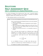 Solutions for Unit 7 - Self Assessment Quiz