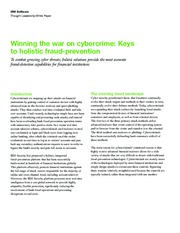 Winning the war on cybercrime Keys to holistic fraud-prevention