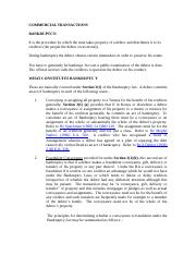 commercial transactions bankruptcy NOTES.docx