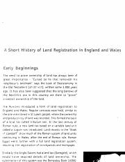 9. A SHORT HISTORY OF LAND REGISTRATION IN ENGLAND