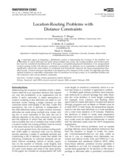 Location-Routing Problems with Distance Constraints (Daskin)