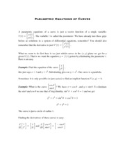 Calculus for Biology Class Notes Parametric