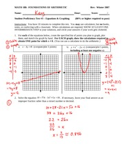 Student Proficiency Test 3 Solution on Solving and Graphing Equations