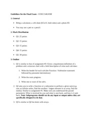 EECS 1540 Guidelines for the Final Exam