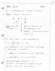 Inhomogeneous Linear Systems Review