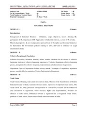 MBA-III-INDUSTRIAL RELATIONS & LEGISLATIONS [14MBAHR301]-NOTES