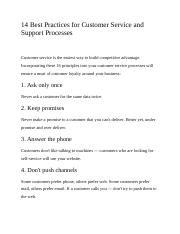 14 Best Practices for Customer Service and Support Processes