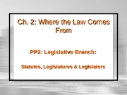 Ch2 PP2 Where Law Comes From (Legislative Branch) Part 1 (2.25.08)