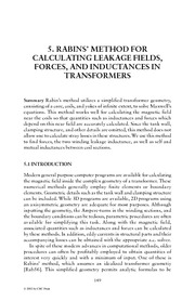 Chapter 5. Rabins' Method for Calculating Leakage Fields, Forces, and Inductances in Transfo