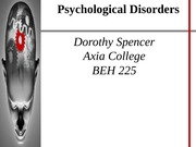 BEH 225 Week 8 CheckPoint - Psychological Disorders - Dorothy Spencerl