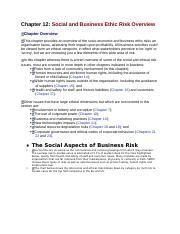 social and business ethic risk overview