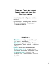 Chapter 4 - Aqueous Reactions and Solution Stoichiometry