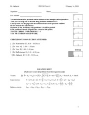 Midterm Exam 1 Spring 2011 Solution on University Physics
