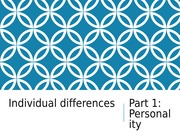 Individual Differences - Personality notes