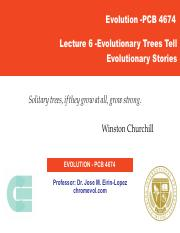 Lecture 6 -Evolutionary Trees Tell Evolutionary Stories