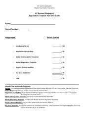 Chapter2 Population - All Key Issues Worksheet - Copy