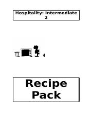 Hospitality Int2 Recipe Pack.doc
