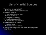 List of 4 Initial Sources