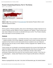 Russia's Expanding Influence, Part 3: The Extras | Stratfor