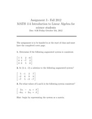 Assignment questions on Linear System of Equations