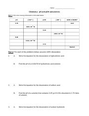 pH problems correct version - Name Hour Date Chemistry pH and pOH ...