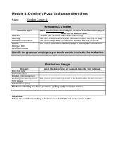 Greyling Conner,Jr LTEC 4000.021 Domino's Pizza Evaluation Worksheet