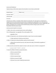 Assessment Worksheet Implementing an Information Systems Security Policy