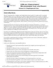 Lesson 1 Employment Law