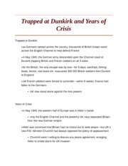 Trapped at Dunkirk and Years of Crisis