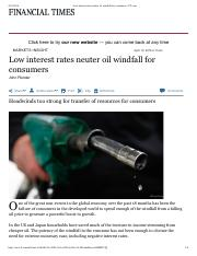 Low interest rates neuter oil windfall for consumers - FT
