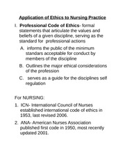 Application of Ethics to Nursing Practice