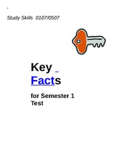 INU 0507 Class Notes Key facts for test Study Skills